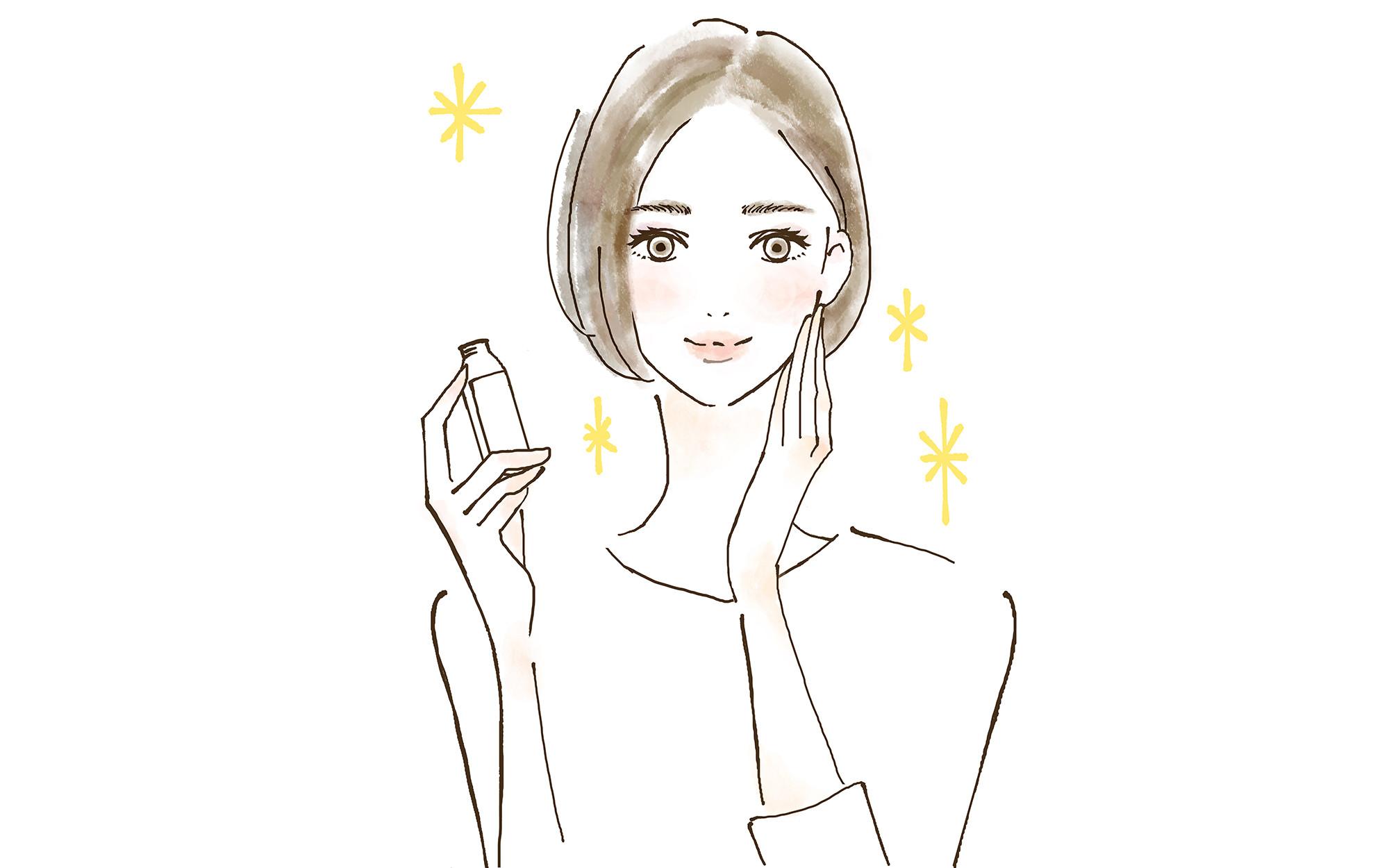 キラキラ 美容ドリンクを飲む女性 ラベル白紙